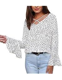 f8a45eb6d7 ShallGood Moda Mujer Casual Solid Lunares Camisa Manga Larga Cuello V  Elegantes Gasa Ropa De Mujer Camisas Manga Ajustable Blusas Top con…