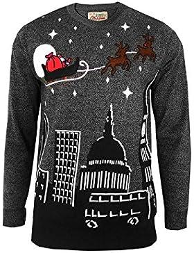 Unisex Maglione Natalizio Babbo Natale slitta Over London Notte Sky Maglione Top