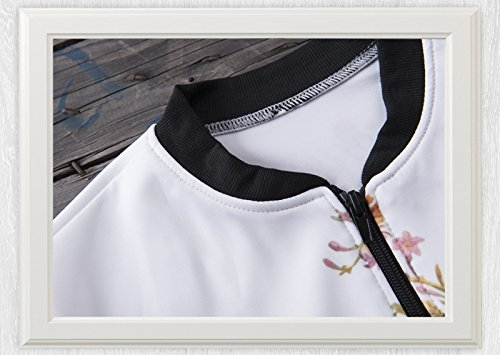 CRAVOG Mode 3D-Druck-Blumen-Frühlings-Herbst Damen kurze Jacken Casual Bomberjacke - 3