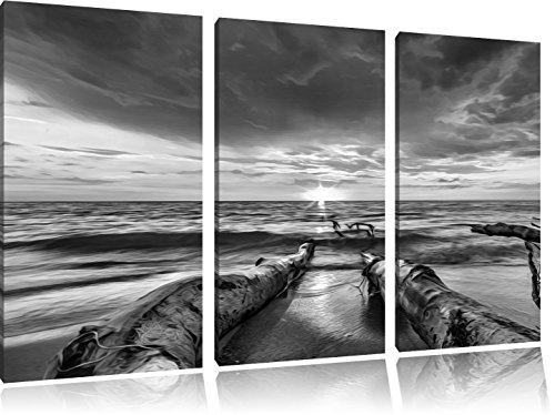 beach-effetto-dellolio-di-arte-b-w-immagine-3-pezzi-picture-tela-120x80-su-tela-xxl-enormi-immagini-