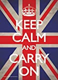 1art1 70706 Motivation - Keep Calm And Carry On, Union Jack Postkarte 15 x 10 cm