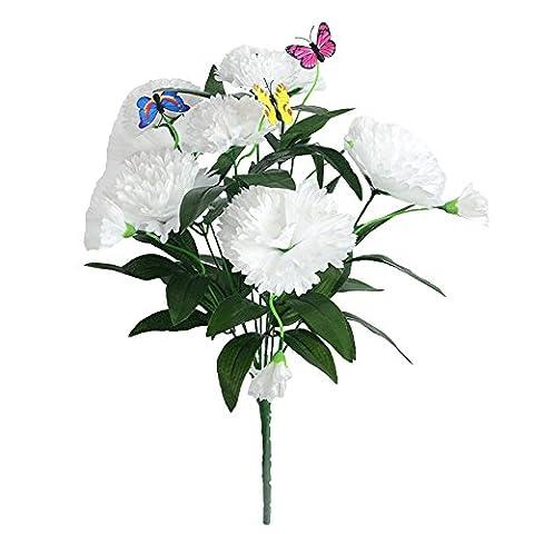 jarown 9Köpfe Künstliche Weiß Nelken lila Seide Blumen mit 3Fly Konsistenz für Mutter 's Day weiß