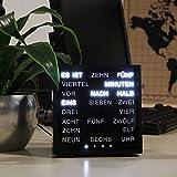 LED WORTUHR, Tisch Uhr digital mit Worten Buchstaben (Deutsch) statt Zahlen, Word Clock, Wörteruhr, Buchstabenuhr mit Schrift Anzeige