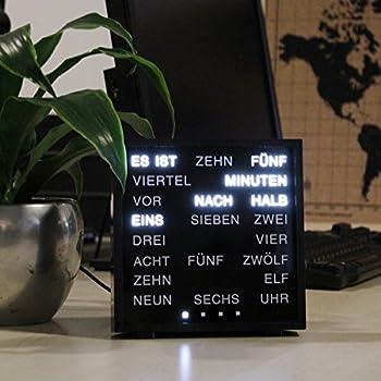 United Entertainment - LED Wort Uhr / Wörter Uhr / Uhr in Worten / Word Clock Deutsch - Schwarz