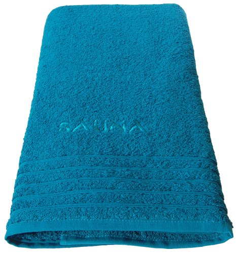 Wellness Saunatuch Uni bestickt mit Sauna 70x200 cm, Farbe: petrol - blau, 100 % Baumwolle