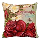 Floral Pillow Cover Decorative Roses Vintage Flower Zippered Throw Pillow Case 18 x 18