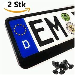 Lot de 2 supports de plaque d'immatriculation pour voiture classique Pkw - Taille standard UE 52 cm