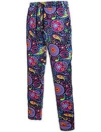 Zhhlinyuan Hombres Adolescentes Cool Lino Pants Pantalones Casual Retro Hippie Harem pants Pantalones deportivos para…