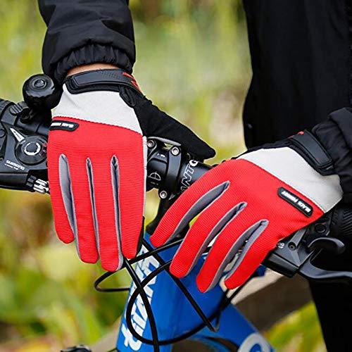 SDKUing Guanti Ciclismo,Guanti Pieno Dito da Bici,Moto da Mountain Montagna da Strada per Bicicletta da Uomo Donna Antiscivolo MTB Bici Touch Screen Guanto Escursionismo E Campeggio