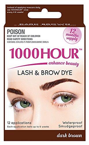 606c72ad2d8 1000 Hour Eyelash & Brow Dye /Tint Kit Permanent Mascara (Dark Brown) by