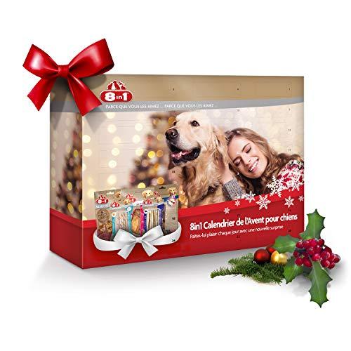 8in1 Calendrier de l'Avent pour chiens - Cadeau de Noël parfait pour votre chien - Assortiment de 8 délicieuses friandises : bâtonnets torsadées filets et brochettes à mâcher friandises lyophilisées