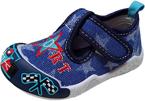 gibra® Freizeitschuhe Sneaker Stoffschuhe für Babys, Kleinkinder, Kinder, Art. 6847, mit Klettverschluss, Navy, Gr. 24