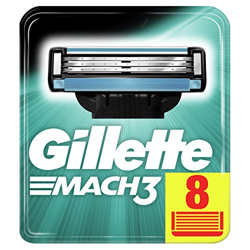 Gillette Mach3 Razor Blades for Men with Stronger-Than-Steel Blades, 8 Refills (Packaging May Vary)
