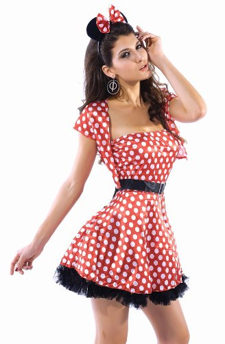 New Frauen 4Stück weiß & Red Dot Disney Minnie Maus Kostüm Fancy Dress Hen Night Halloween Party Größe (Und Minnie Kostüme Fancy Dress Mickey)