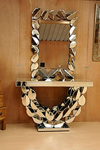 Package Deal Premium Mirrored Glass Console Table Leaf Design Plus matching Leaf Mirror