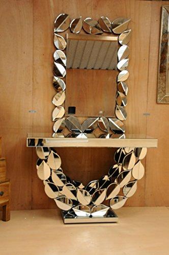 Paket Deal Premium verspiegelt Glas Konsole Leaf Design Plus Passende Blatt Spiegel (Tisch Lampe Konsole Spiegel)