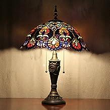 dee Patrón de flores lámpara de mesa, 2 Light, Tiffany Resina Vidrio Pintura