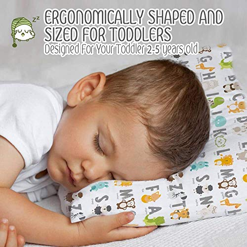 Junior Street Toddler ABC Pillow with Pillowcase - 13X18 Soft Organic Cotton Baby Pillows for Sleeping - Machine Washable - Toddlers, Kids, Infant - Perfect for Travel, Toddler Cot, Bed Set