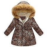 luoluoluo Giacca Bimba,Cappotti Bimba Invernali, Bambini Ragazze Cappotto di Leopardo Floreale Autunno Inverno Cappotti Caldo Giacche per 2-7 Anni - Cappotti e Giacche per Bambina (Khaki, 2-3 Anni)