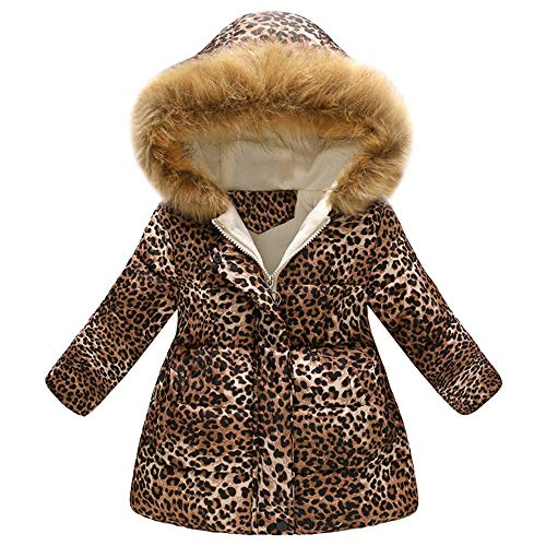 Elecenty cappotto antivento con cappuccio giacca invernale da bambino con stampa leopardata ragazze inverno cappotti con cappuccio