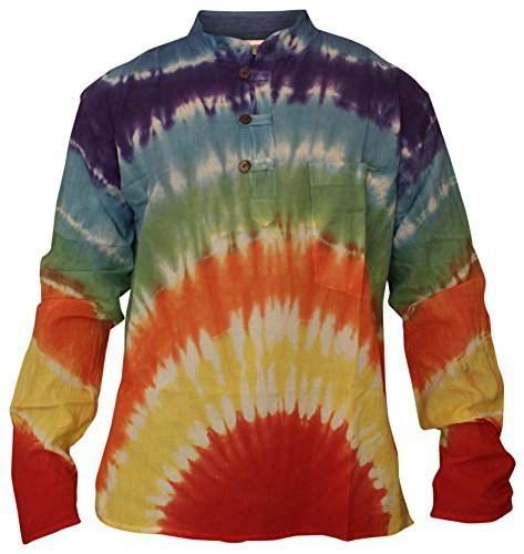 Shopoholic FASHION HERREN DAMEN Marmor Batik Hippy Großvater Shirt Rainbow Batik