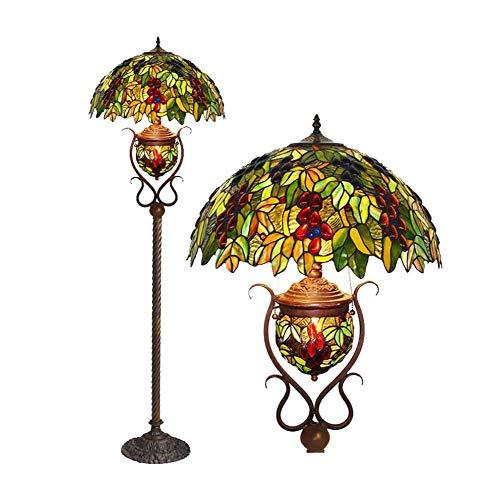 YDYG 18-Zoll-Tiffany-Stil Bodenlampe, Buntglas Art Deco Wohnzimmerboden Uplighter, Europäische Retro-Traube Stehendes Licht