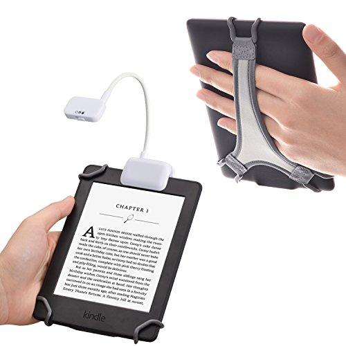 TFY Lampe de Lecture LED à Clip avec 2 Niveaux d'intensité de Lumière pour Kindle, Autres Liseuses, Tablettes, et Livres Plus Dragonne Bonus Pour Liseuses Kindle 6 pouces - Blanc