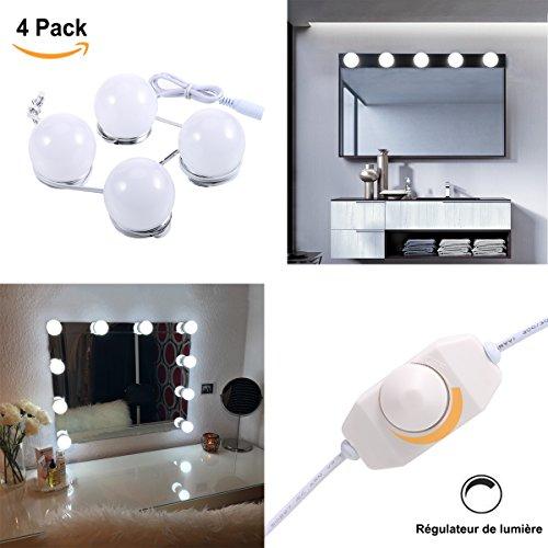 Greenclick 4*Miroir Lampe, Miroir Maquillage, régulateur de lumière avec adaptateur,pour miroir de courtoisie de style Hollywood pour maquillage, pour salle de bain. (Miroir non inclus)