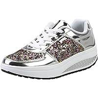 Mujer Cuero Zapatillas de Deporte con Plataforma de Cuña Aptitud Gimnasio Zapatos de Baile para Caminar con Cordones 4 CM