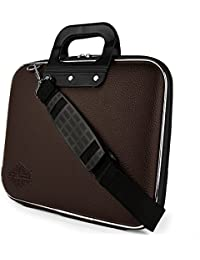 "Style Homez Stylish Unisex Hard Shell Briefcase Brown Laptop Bag with Strap for 15.6"" Laptop"