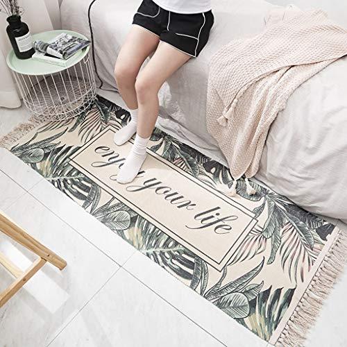 Scrolor Woven Mats Baumwolle Teppiche Rutschfeste mit Quaste kreative Blätter Muster Home Schlafzimmer Dekoration(Mehrfarbig C,60 * 180cm) -
