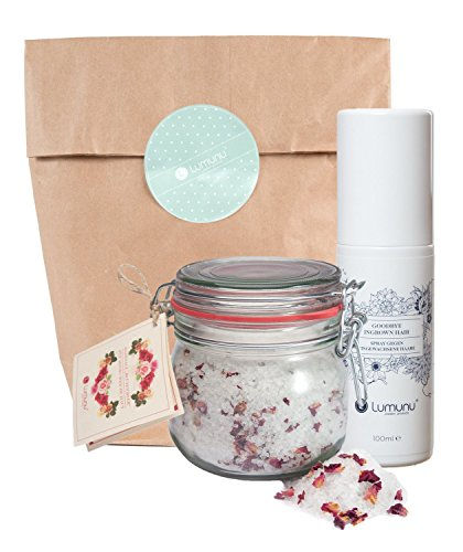 Deluxe Wellness Pflege Set bestehend aus feinem Badesalz (700g) mit Rosenblüten & Spray gegen eingewachsene Haare (100ml), Beauty Geschenkset für Sie