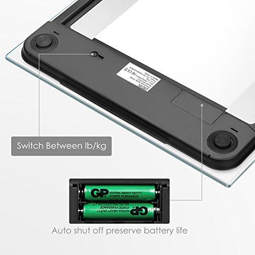 Deik Bilancia Pesapersone Digitale alta Stabilità Piattaforma Vetro Temperato con LCD Schermo Retroilluminato,Tecnologia Step-on, includere metro a nastro e batteria AAA, 5kg-180kg - 5