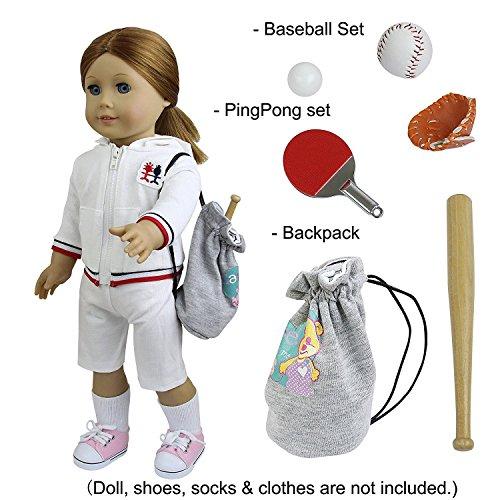 ZITA ELEMENT Puppen Zubehör Sport Set Equipment für 18 Zoll American Girl Doll 45-46 cm Puppe, Baseball Zubehör + PingPong + Turnbeutel (American Puppe Zubehör)