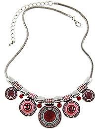 80bef50d7127 ZARU Collar Mujer 1PC Mujeres Gargantilla Estilo étnico de la Vendimia  Plateada Collar Llamativo Colgante