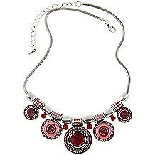 4a3d1f6e5e1e ZARU Collar Mujer 1PC Mujeres Gargantilla Estilo étnico de la Vendimia  Plateada Collar Llamativo Colgante