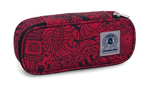 Estuche Round Plus INVICTA - BEAT - Rojo - Compartimento interior portalápices