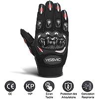 YISSVIC Gants Moto Homologués CE 1KP Gants Scooter Été à Écran Tactile Plein-doigt Anti-Glissant Anti-Usure Noir Taille M 22-24cm [Version Améliorée]
