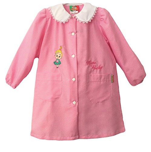 Confezioni mariano grembiule scuola made in italy - asilo bambina colore quadretto rosa -ricamo mini baby - abbottonatura centrale con bottoni, colletto bianco con ricamo.