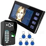 """MOUNTAINONE 7"""" RFID Videoportero Interfono Timbre Intercomunicador kit(1000TVL Cámara de Vigilancia, Monitor TFT , Botón Táctil, Tarjetas ID / Código / Desbloqueo Huella Dactilar, Visión Nocturna)"""