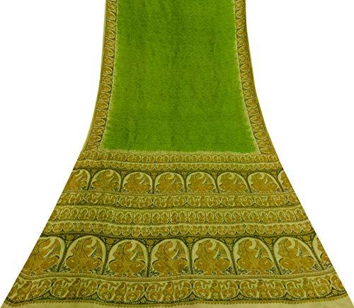 Sari Aus Reiner Seide (Vintage Menschliche Printed Lime Green Saree Ethnic Gebrauchte Craft Stoff Aus Reiner Seide Sari)