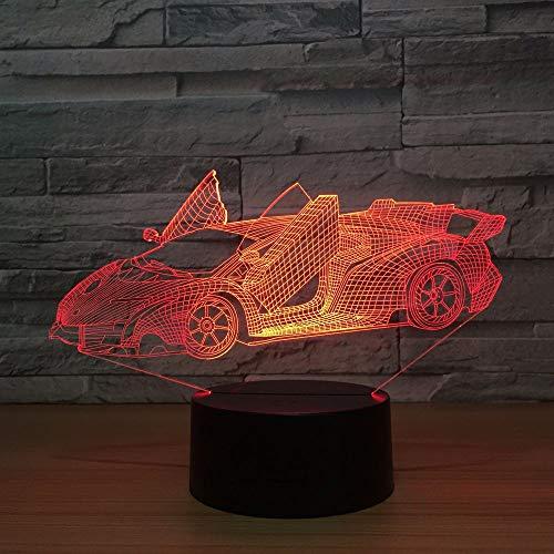 3D Lampe - Optische Täuschung, 3D Kinder Nachtlicht Schneller Geschwindigkeits-Sportwagen Kinderzimmer Nachtlicht für Kinderzimmer Home Decor Weihnachten Geburtstag Geschenke mit 7 Farbwechse