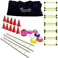 Kit de entrenamiento de fútbol Kosma   Ejercicio & Fitness entrenamiento agilidad Velocidad establecida con agilidad escaleras, vallas, conos de tráfico y espacio de formación Conos de marcadores de c