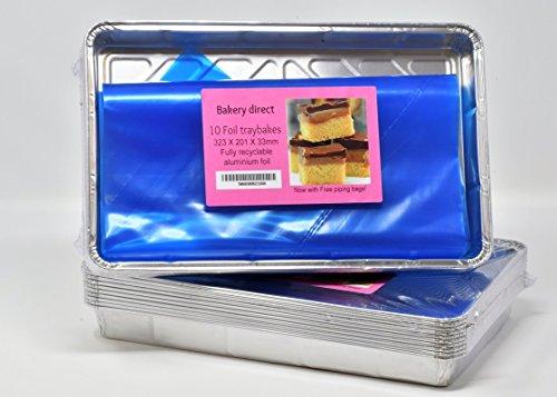 10grands plateaux à cuire en aluminium recyclable 30,5x20,3cm avec 2poches à douille jetables 53,3cm.