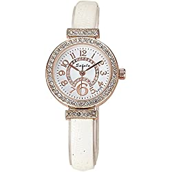 Fashion Rhinestones PU Strap Quartz Women Wrist Watch,White
