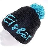 Strickmütze Unisex Winter Eisbär 50% Gora, Größe:56-62cm, Farbe:Schwarz-Hellblau-Pompon