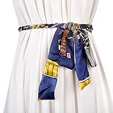 Womens Geflochtene Gürtel Verziert Leder Fashion Style Colorblocking Persönlichkeit Taille Kette Verknotet Mit Rock,Blue-OneSize