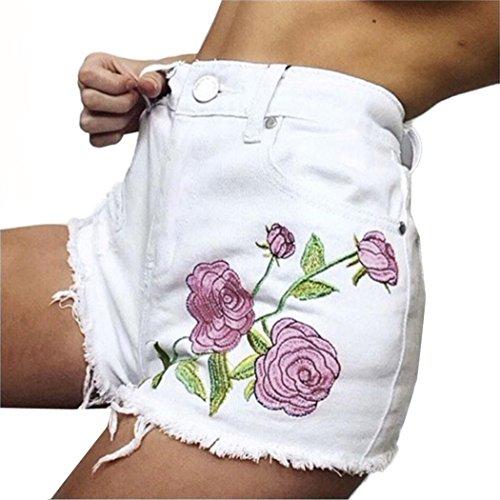 Stickerei Shorts Hose, Zarupeng Frauen Loch Shorts Zerrissene Jeans Denim Kurzschluss Jeanhose (L, Weiß) (Denim Gebacken)
