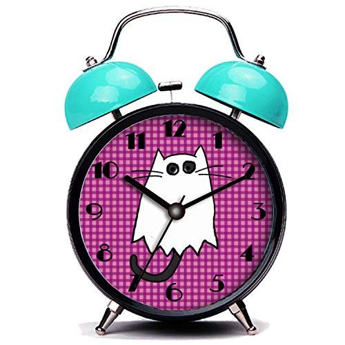 girlsight Blauer Wecker, Nette Katze Süße Halloween Katze Geist Kostüm Twin Bell Wecker mit Nachtlicht