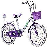 Pieghevole Uomini e Donne Folding Bike - Biciclette per Bambini Pieghevole 6-18 Anni Principessa Biciclette 18-22 Pollici per Bambini Biciclette a Pedale,Viola,18inch